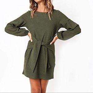 Casual Long Sleeve Front Tie Dress
